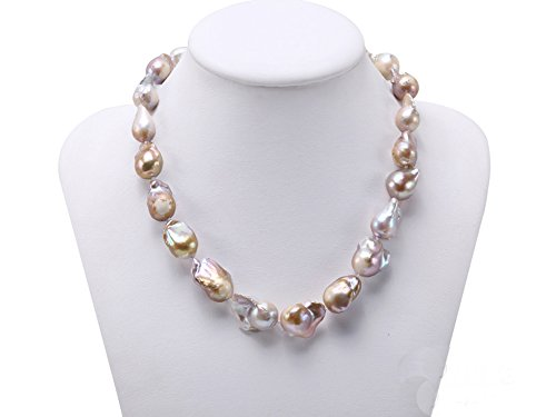 ater Cultured Natural Champagne Baroque Pearl Necklace 18.5inches (Natural Baroque Freshwater Pearl)