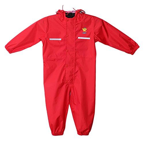 Jili Online Unisex All-in-one Waterproof Rain Suit Boys & Girls Splash Puddle Suit - Red, M