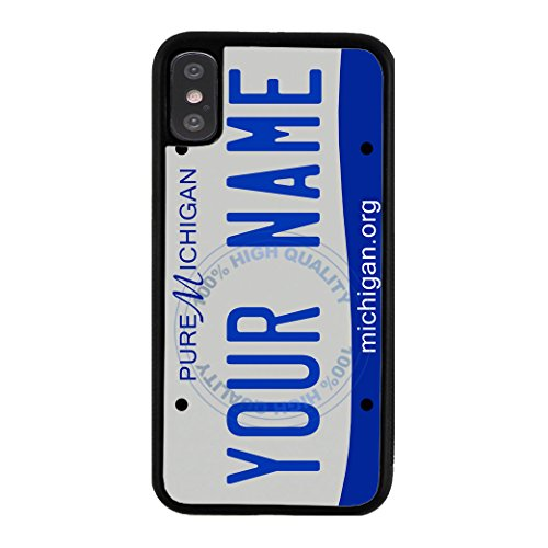 BleuReign Personalized Custom Name 2016 Michigan State License Plate Rubber Phone Case Back Cover for Apple iPhone X Xs Ten