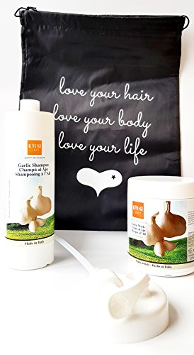 Alter Ego Garlic Hair Care Duo - 1x Garlic Shampoo 1L plus 1x Garlic Hair Mask Treatment 1L with Love Your Life Drawstring Bag Alter Ego Hair Care