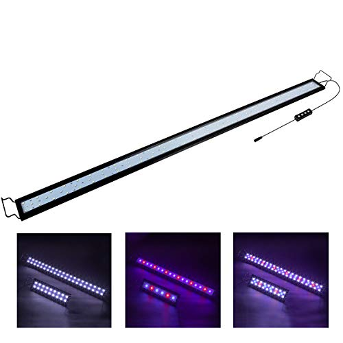 Hygger 32W Full Spectrum Aquarium Light with Aluminum Alloy Shell Extendable Brackets, White Blue Red LEDs, External Controller, for Freshwater Fish Tank (46-52 inch)
