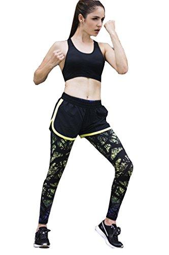 suzone pantalones de deporte para mujer Yoga Leggings medias entrenamiento pantalones Chándal Green 2