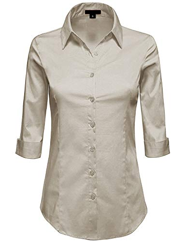 MAYSIX APPAREL Plus Size 3/4 Sleeve Stretchy Button Down Collar Office Formal Shirt Blouse for Women Khaki 2XL