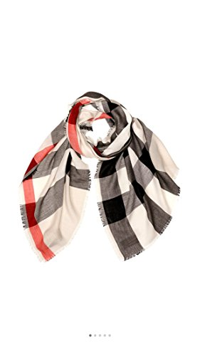 - Burberry-1 Unisex Check Modal Cashmere and SIlk Scarf Stone