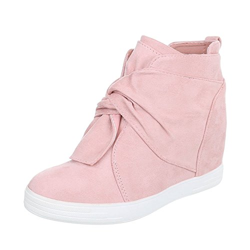 Women's Boots Flat Wedge Ankle Boots at Ital-Design Light Pink Lvp88U