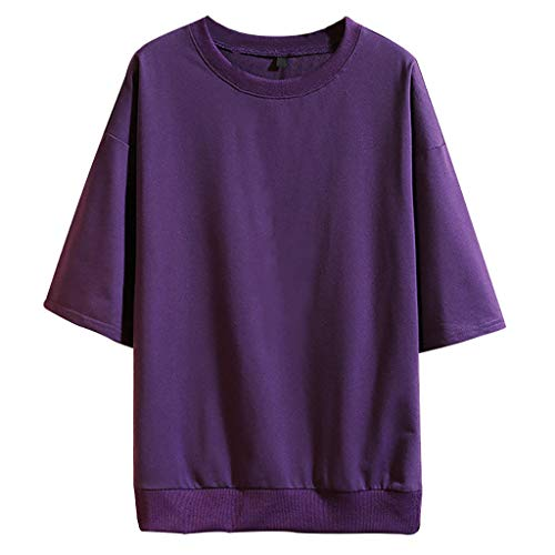 Men's Summer Fashion Casual Pure Color O-Neck Half Sleeves T-Shirts Top Blouse Purple -