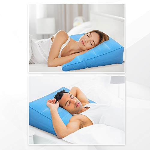 Large Inflatable Bed Wedge Pillow - Portable Lightweight (17ozs) GERD Incline Pillow w/Quick Valve - Travel Blow Up Triangle for Acid Reflux, Anti Snore, Foot Rest & Sleeping Comfort.