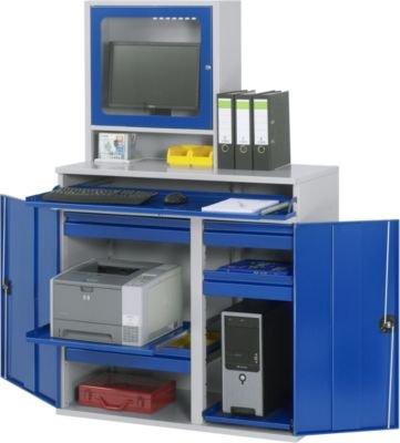 RAU Computer-Arbeitsstation - Monitorgehäuse, 1 Ausziehboden, 2 Schubladen, lichtgrau / enzianblau - Schränke EDV-Mobiliar PC-Arbeitsplatzsysteme EDV-Schränke PC-Stationen Arbeitsstationen PC-Schränke Computerschränke Workstations Schränke EDV-Mobiliar