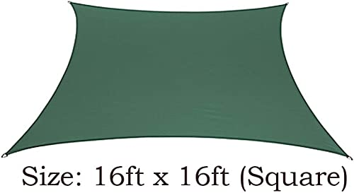 BELLRINO DECOR Thick and Strong Sun Shade Sail Square 16 X 16 FEET, Green