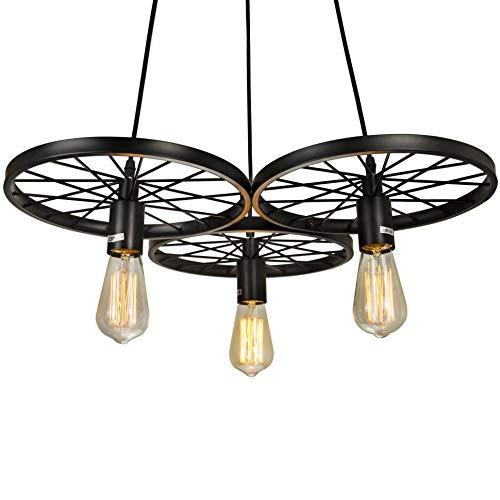 - Electro_BP Antique Metal Art Large Barn Wheels Hanging Pendant Light Max 180W With 3 Lights Black Finish