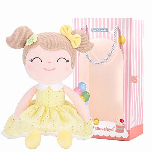 Gloveleya Baby Doll Baby Girl Gifts Plush Yellow Snuggle Buddy