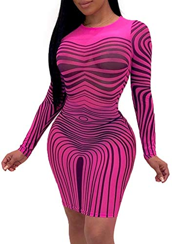 (Succi Sexy Club Dresses for Women - See Through Mesh Stripe Printed Long Sleeve Round Neck Bodycon Pencil Mini Dress Pink XXL)