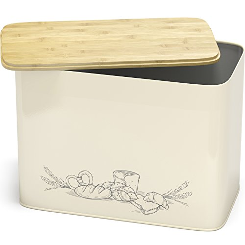 Space Saving Extra Large Vertical Bread Box With Eco Bamboo Cutting Board Lid - Holds 2 Loaves - Cream Breadbox By Cooler Kitchen ()