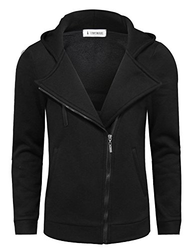 Tom's Ware Mens Trendy Asymmetrical Zip Hoodie Jacket TWHD1012-BLACK-US M