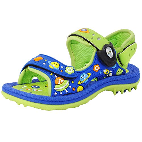 Gold Pigeon Shoes #316 Kids Signature Sandals Toddler Boy : 8680 Green Blue, EU29 (Size: Toddler 12-12.5)