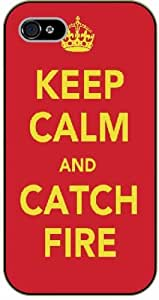 iPhone 4 / 4s Keep calm and catch fire - black plastic case / Keep calm, funny, quotes, thrones, game of