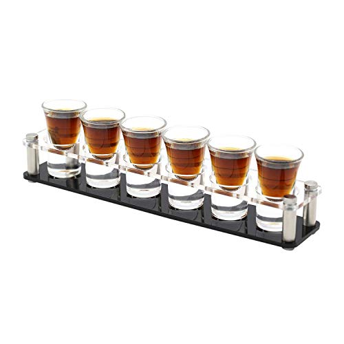 Shot Glass Holder (D&Z Shot Glass with Acrylic Transparent Cup Holder for Barware,Kitchen Storage, Shot Glass liquor Tray, Whisky Brandy Vodka Rum and Tequila Shot Set,0.75oz (TB-1X6)