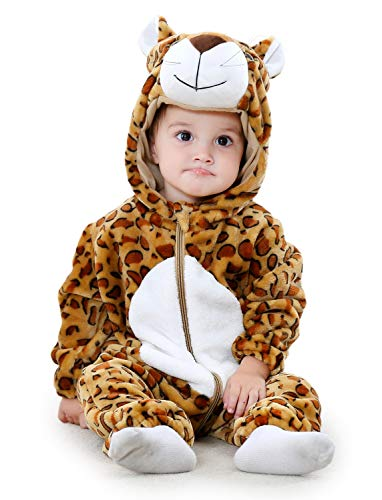 Adorel Baby Boys Hooded Romper Flannel Jumpsuit Onesie Leopard 0-5 Months (Label Size: -