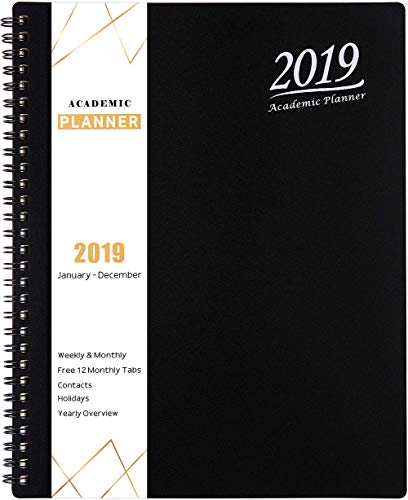 2019 Planner - Academic Weekly, Monthly and Yearly Planner with Tabs, Flexible Cover with Julian Dates, Twin-Wire Binding, 8.25
