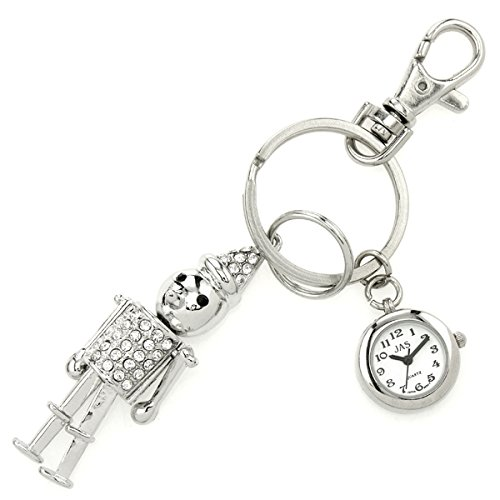 JAS Unisex Novelty Belt Fob/keychain Watch Tin Man Silver Tone