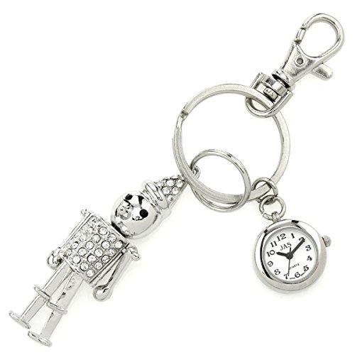 JAS Unisex Novelty Belt Fob/keychain Watch Tin Man Silver (Silver Tone Tin)