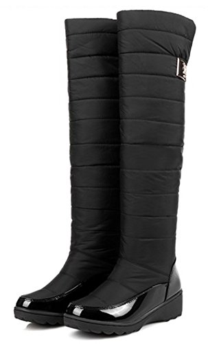 IDIFU Womens Antiskid Mid Heels Fleece Lined Knee High Snow Boots Long Winter Down Booties Black oMJz9T