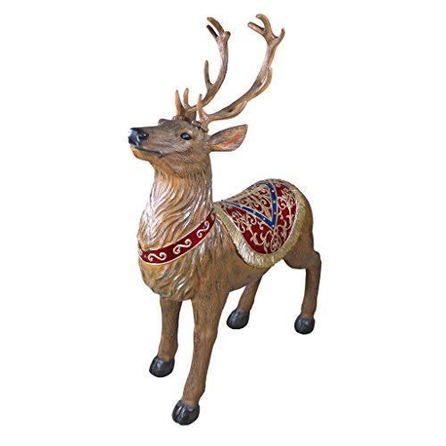 Christmas Decorations - Santa Claus North Pole Illuminated LED Christmas Reindeer Decorations - Holiday Decor Statue ()