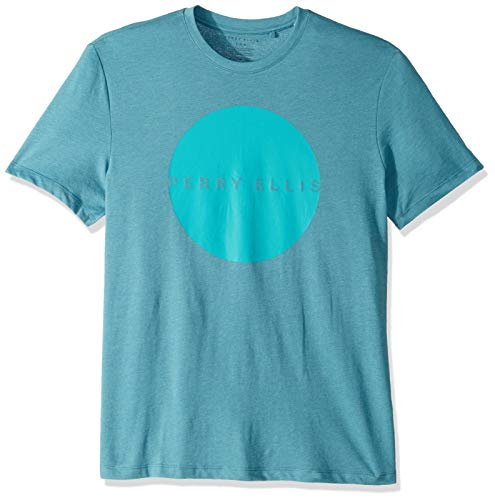 Perry Ellis Men's Perry Logo Crew Tee, Storm Blue Heather-4ESK9048, Large (The Band Perry Related To Steve Perry)