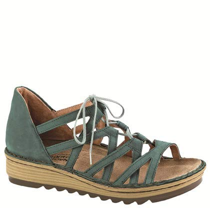 NAOT Footwear Women's Yarrow Lace up Sandal Teal Nubuck 7 M US