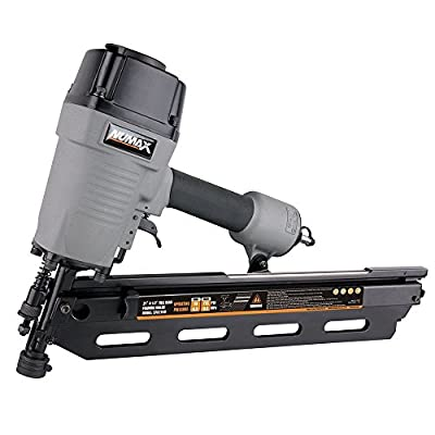"NuMax SFR2190 Pneumatic 21 Degree 3-1/2"" Full Round Head Framing Nailer Ergonomic and Lightweight Nail Gun with Tool-Free Depth Adjust and No Mar Tip"