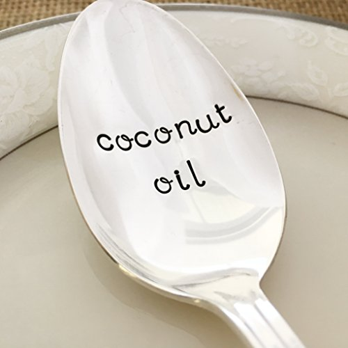 Coconut oil : hand stamped tablespoon, lady - Silverplate Tablespoon