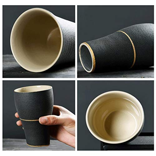 Exquisite Tea cups Saucers set Set Coffee Cup Tea pot, Tea cups 2 PCS Matte Models Mug Ceramics Drink Cup Handy Cup Water Cup Coffee Cup Milk Cup Breakfast Cup Cup Couples Cup Office Room Home Black U by Kinue (Image #2)