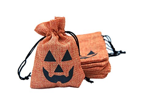 "Halloween Treat Bags (3.5"" x 5"") - Halloween Goodie Bags for Trick or Treating and Party Favors (Pumpkin, 10 Pack)"
