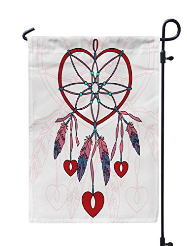 - Soopat Dreamcatcher Seasonal Flag, Dreamcatcher Heart Shaped with Feathers Weatherproof Double Stitched Outdoor Decorative Flags for Garden Yard 12''L x 18''W Welcome Garden Flag