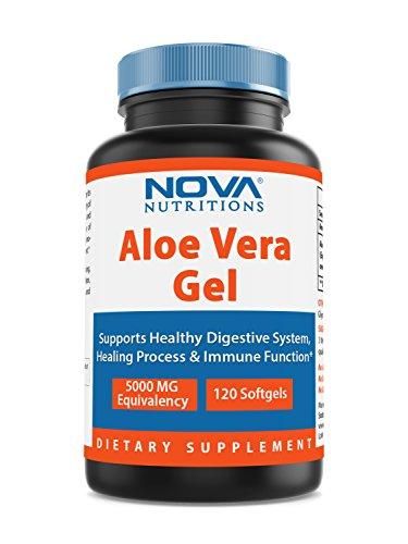 Vera Capsules Gel Aloe Softgel (Nova Nutritions Aloe Vera Gel 5000 mg 120 Softgels)