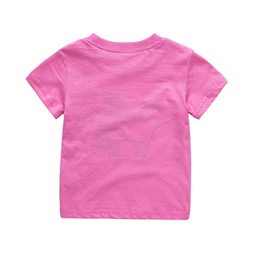 Toddler Boys Girls T-Shirts Tops Organic Short-Sleeved Cute Animals Prints Embroidery Unisex 2t-7t (2T, Rose) by KiKi Shop (Image #1)