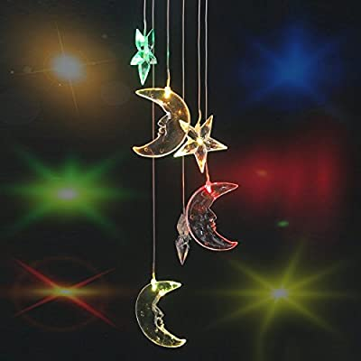 KOOMAGIC Six Color-Changing LED Solar Mobile Waterproof Moon Wind Chimes String Lights for Outdoor, Gardens, Homes, Wedding, Christmas Party and Holiday Décor