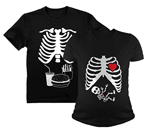 Halloween Skeleton Maternity Tee Baby Boy X-Ray Matching Couple Set Burger Tee Dad Black Large/Mom Black Large for $<!--$34.95-->