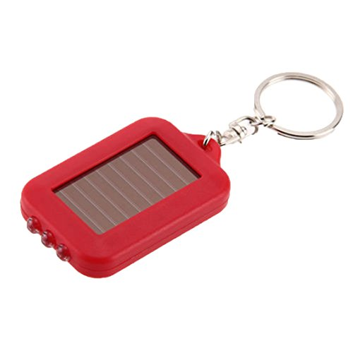 Unigds Mini Solar Power Rechargeable 3LED Flashlight Keychain Light Lamp Torch Gift (Red)
