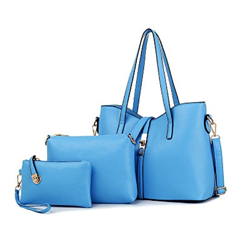 Oudan Bolso de mujer bolso de mano de cuero sintético Tote + bolsa hombro gastado + billetera 3 piezas (Color : Negro, tamaño : Un tamaño) Azul