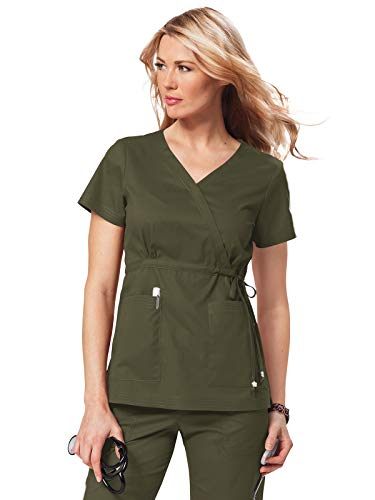 KOI Women's Katelyn Easy-fit Mock-wrap Scrub Top with Adjustable Side Tie, Olive Green, 3X-Large