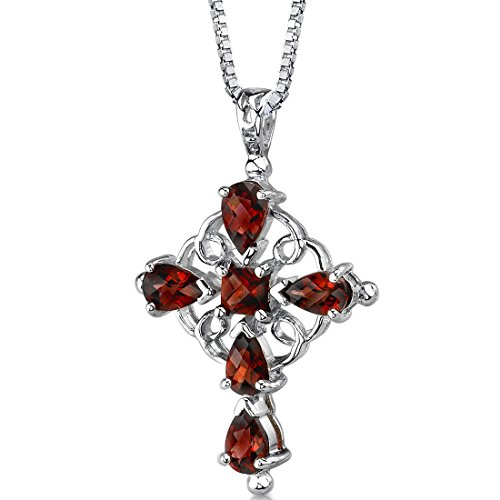 Garnet Cross Pendant Necklace Sterling Silver Vintage Design 3.00 Carats