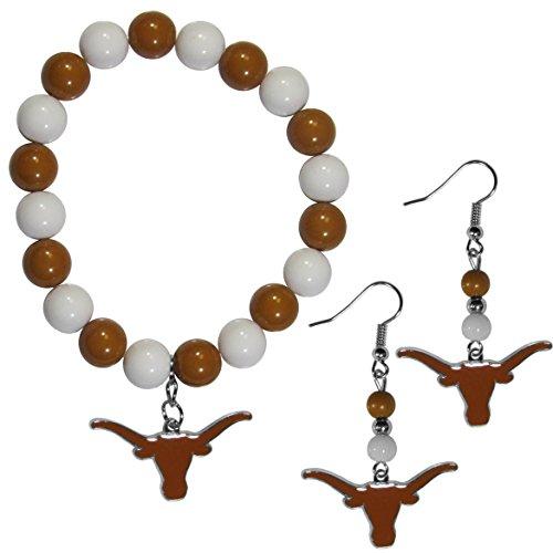 Siskiyou NCAA Texas Longhorns Fan Bead Earrings & Bracelet Set