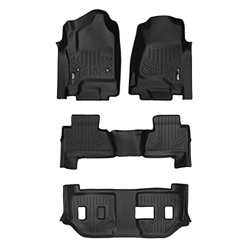 MAX LINER A0136-P/B0221/C0166 Custom Floor Mats 3 Liner Set Black for 2015-2019 Chevrolet Suburban/GMC Yukon XL (with 2nd Row Bench Seat) - Gmc Yukon 2nd Row Bench