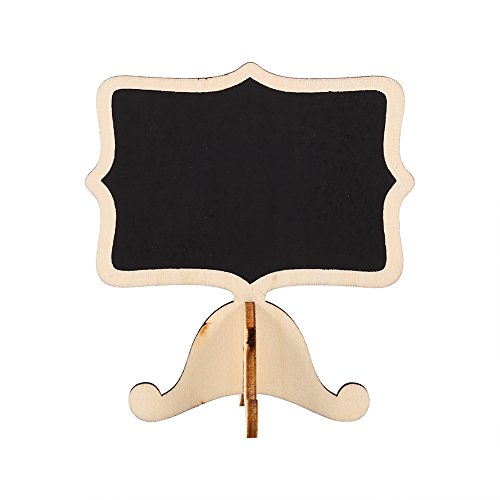Top 10Pcs Mini Wooden Chalkboard Blackboard Message Table Number Sign with Base Stand for Wedding Party Decor ( Color : Gold ) free shipping