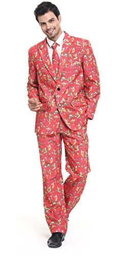 [YOU LOOK UGLY TODAY Men's Festival Playful Clown Solid Color Bachelor Party Suit X-Large] (Festival Costume For Men)