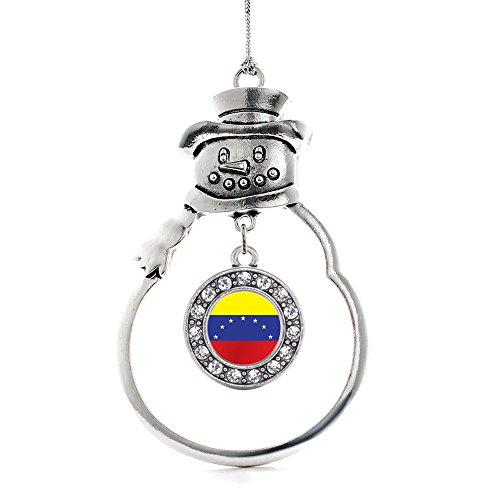 Inspired Silver - Venezuela Flag Charm Ornament - Silver Circle Charm Snowman Ornament with Cubic Zirconia Jewelry (Christmas Venezuela Ornaments)