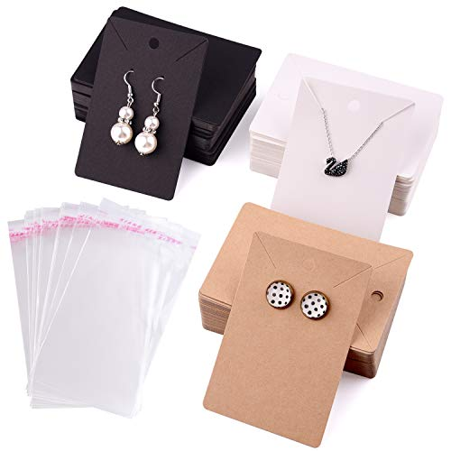 TUPARKA 120 PCS Earring Display Card,Necklace Display Cards with120Pcs Self-Seal Bags, Earring Holder Cards Blank Kraft Paper Tags for DIY Ear Studs and Earrings in Black, Brown, and White (6x9CM)