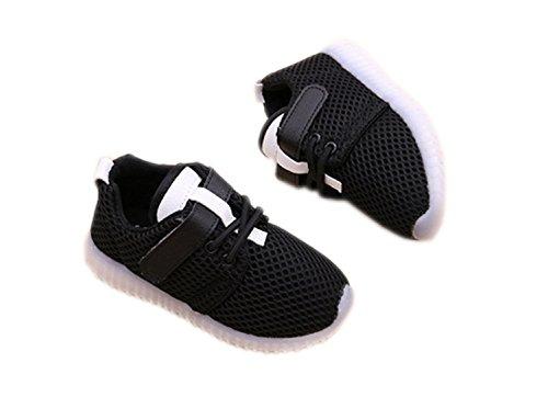 Baby Jungen Mädchen LED Atmungsaktiv Prewalker Sportschuhe Aufhellen Schlüpfen Weich Turnschuhe Schwarz