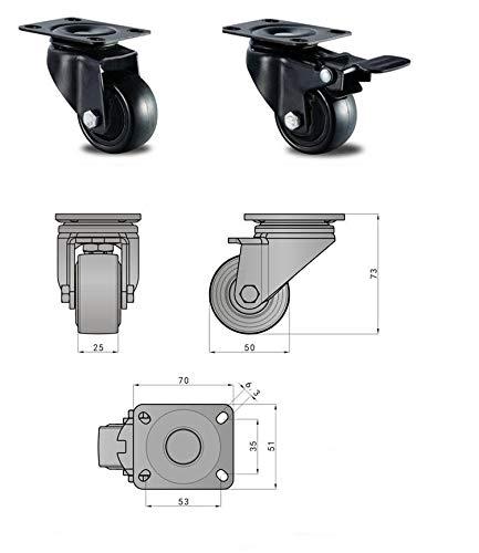 Meuble Lot Roue Gbl 50mm Frein Pour 4 Roulettes Duty Industrielles Transport Roulette Noir 4 De Plaques Frein Pivotantes Roues Avec Heavy 6xwSxFd